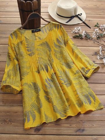 Vintage Pleated Print Blouse