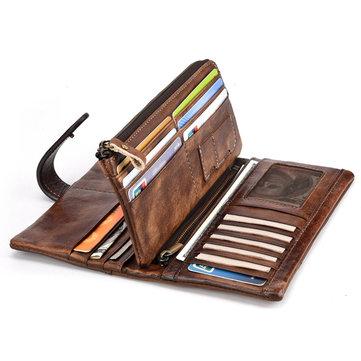 RFID جلد طبيعي عادية 18 بطاقة فتحة محفظة للرجال