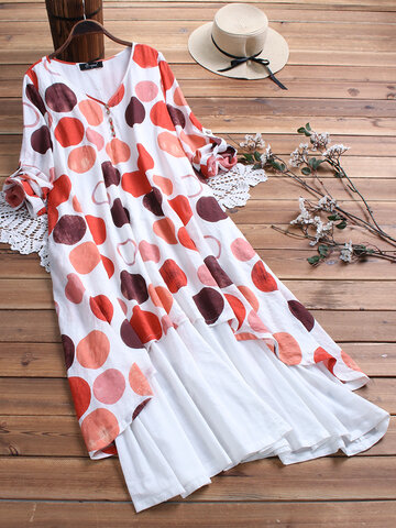 Vintage Polka Dot Patchwork Maxi Dress