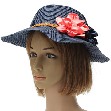 Women Trilby Beach Sun Hat Flower Elegant Straw Floppy Travel Cap b3125abbcec