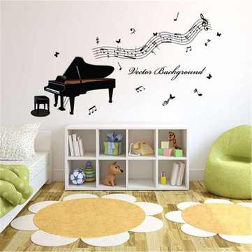 Piano amovible Music Wall Sticker Chambre Étude Art Mural Home Decor