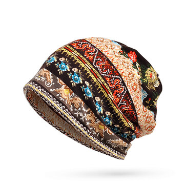 Women Useful Ethnic Style Stripe Print Beanie