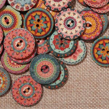 100pcs mélangent boutons en bois bohème indien
