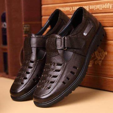 Men Hook Loop Hole Breathale Leather Shoes