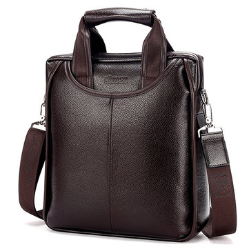 Men Business Solid Briefcase PU Leather Crossbody Bag