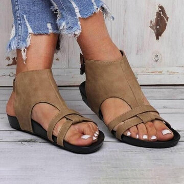Roman Hollow Buckle Flat Sandals