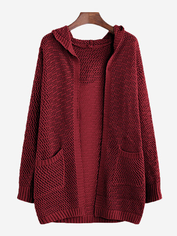 Solid Color Hollow Hooded Cardigan