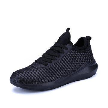 Large Size Men Light Weight Knitted Lace Up Sport Casual Shoes