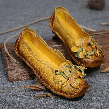 Socofy Chaussures Plates Faites À La Main En Cuir Véritable Mocassins Souples Style Fleuri
