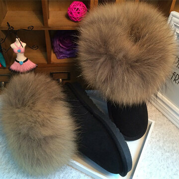 57421ff7252f Leather Black Furry Warm Fur Lined Ankle Snow Boot For Women