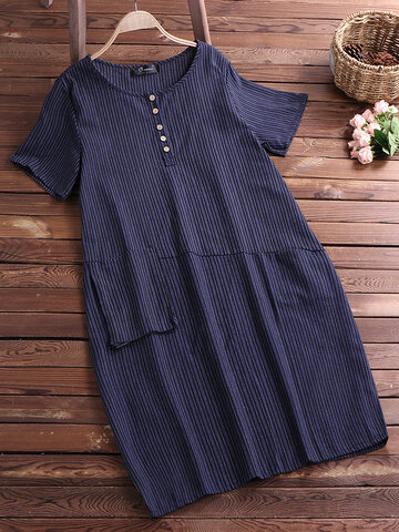 Casual Stripe Pockets Asymmetrical Dress