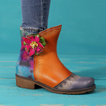 SOCOFY Hand Carved Stitching Leather Boots