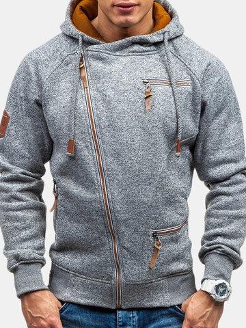 Slanted Zipper Up Cotton Hoodies