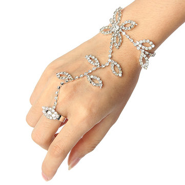 Crystal Flower Leaves Palm Bracelets