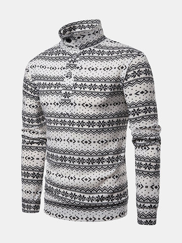 Christmas Snowflake Printing Patchwork Knit Sweater