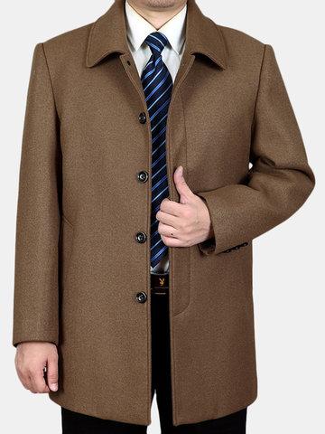 L-4XL medio largo abrigo de lana suelta ocasional