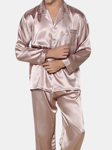 Mens Breathable Ultra Smooth Silk Suits Embroidery Chest Pocket 3XL Plus  Size Top Pajamas Sets 97c153a2c