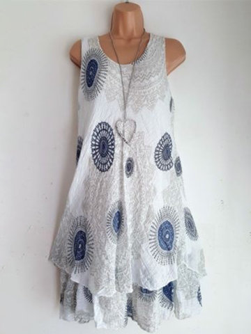 Sleeveless Double-layer Print Dress