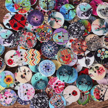 100Pcs  Round Wooden Decoration Sewing Buttons