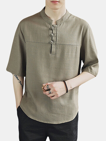 Plus Size Linen Casual Buttons T Shirts