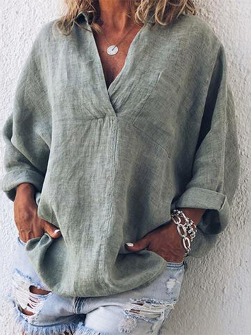 Solid Color Loose Casual Blouse