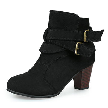 Warm Female Suede Sexy Square Heel Pure Colour Ankle Buckle Boots