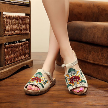 Embroidery Pattern National Wind Hollow Out Slip On Flat Sandals