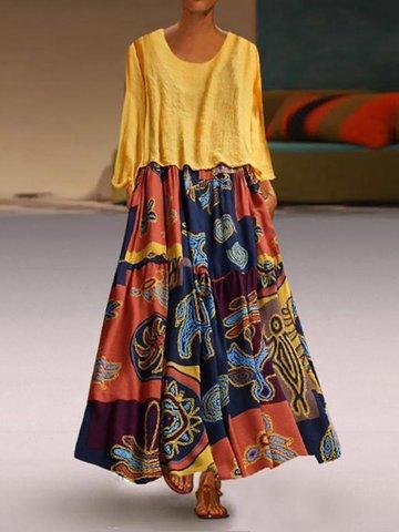 Dos Picecs Étnico Estampado Vestido