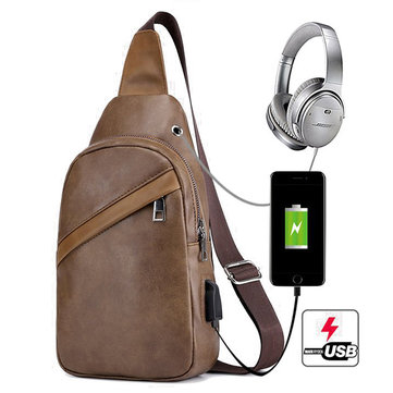 Men USB Charging Chest Bag Business Crossbody Bag