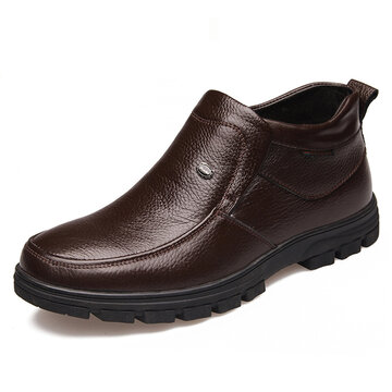 Men Genuine Leather Slip On Casual Boots