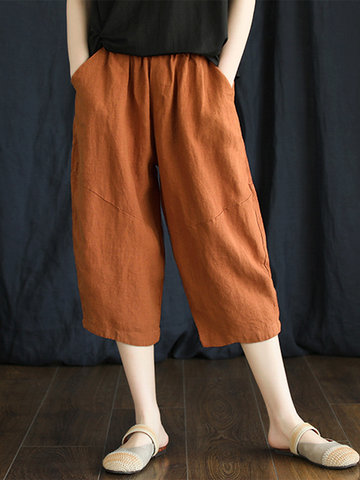 Wide Leg Solid Color Harem Pants
