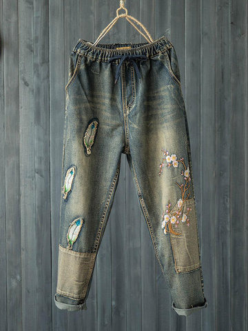 Retro Stickerei Patch Elastic Waist Denim