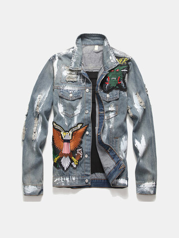 Retro Single Breasted Patched Denim Jacket