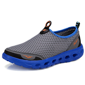 8b7e24fb66f0 Large Size Men Honeycomb Mesh Quick Drying Upstream Shoes Casual Beach Shoes