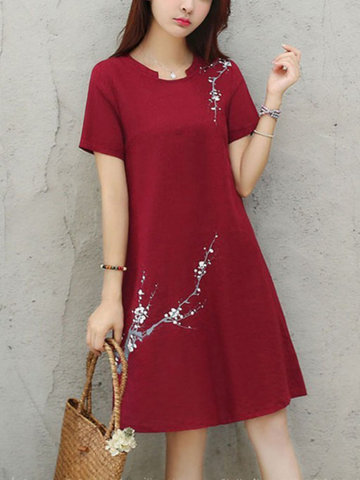 Loose Elegant Short-sleeved Simple Casual Midi Dress