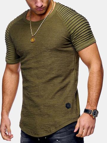 Мужская однотонная нерегулярная футболка