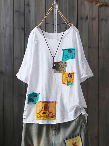 Patch Short Sleeve Casual T-Shirt