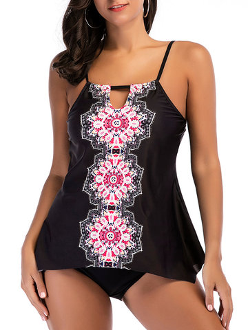 Plus Size Printed Cover Belly Tankini Sets, Black