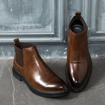 Men Retro Élastiques Panneaux Slip On Casual Boots