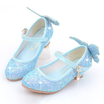 Girls Sequined Butterfly Pattern Shining Shoes