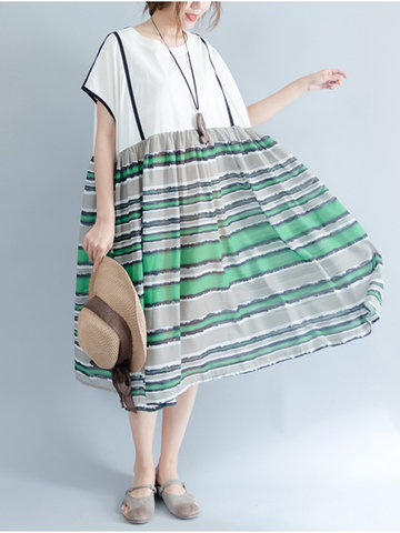 Vintage Women Patchwork Striped Short Sleeve Loose Dresses