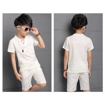 Cotton Linen Short-sleeved Boy's Clothes Two-piece