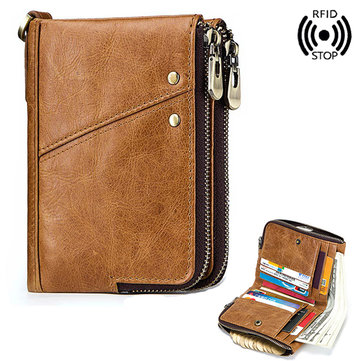 RFID Genuine Leather 12 Card Slot Multifunction Men Women
