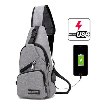 Casual Outdoor Travel USB Charging Port Sling Bag Chest Bag
