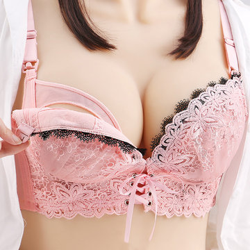 Soft Button Adjustable Lace Nursing Bras