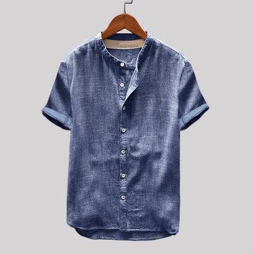Винтаж С короткими рукавами Свободные Повседневные Рубашка