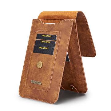 पुरुषों 5.2 / 6.5 इंच असली लेदर फोन बैग 11/13 कार्ड स्लॉट