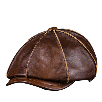 Men's Genuine Leather Octagonal Cap