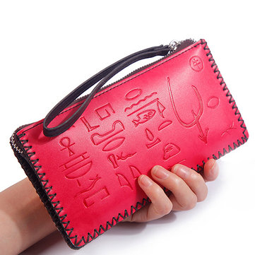 Women National Embossed Clutch Bag Multi-function Wallet