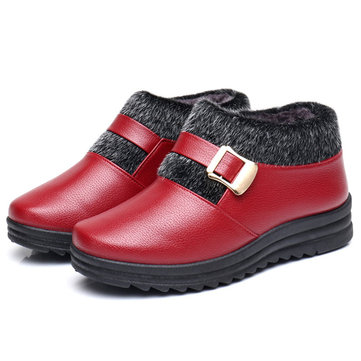 Warm Lining Flat Ankle Boots, Red black brown